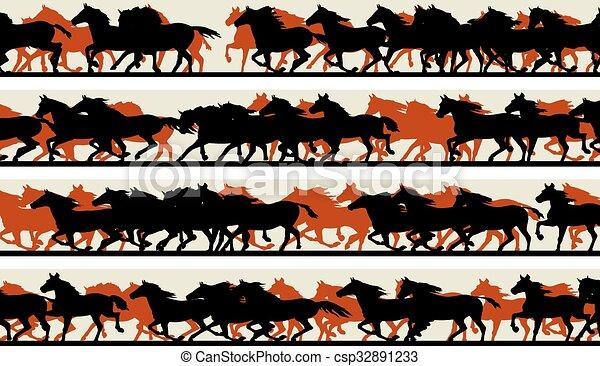 Prancing galloping horses. - csp32891233