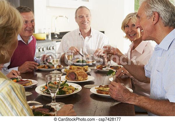 pranzo, godere, amici, insieme, casa - csp7428177
