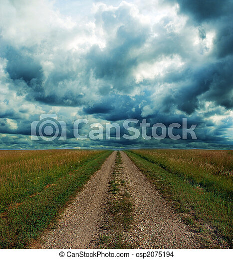 prateria, attraverso, strada, tempesta, sporcizia - csp2075194