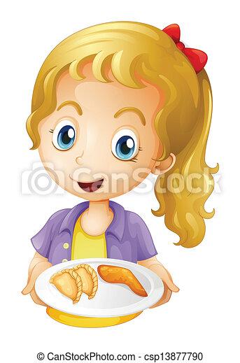 prato, alimentos, menina, segurando - csp13877790