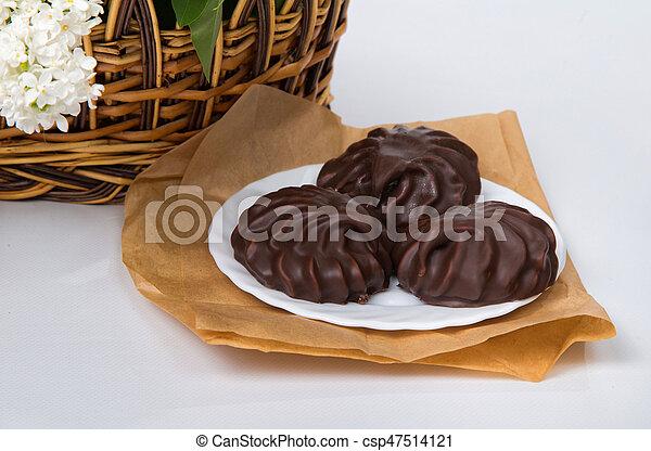 prato, branca, marshmallow, chocolate - csp47514121
