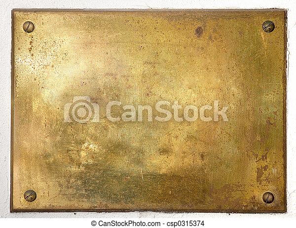 prato, bronze, borda, metal, amarela - csp0315374