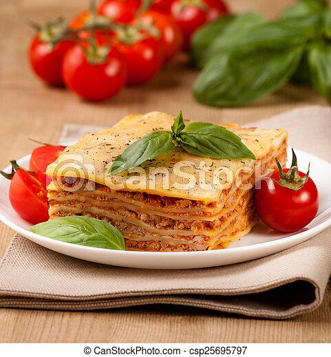 prato, gostoso, flavorful, lasanha, ingredientes - csp25695797