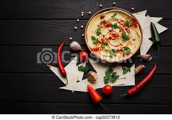 prato, pimenta, temperado, verdes, experiência., topo madeira, hummus., space., hummus, beautifully, servido, cópia, vista - csp50373812