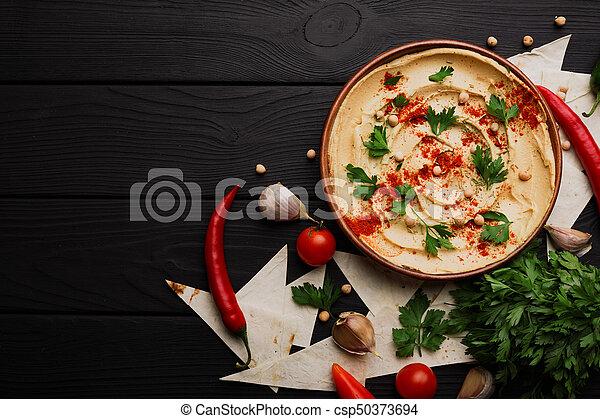 prato, pimenta, temperado, verdes, experiência., topo madeira, hummus., space., hummus, beautifully, servido, cópia, vista - csp50373694
