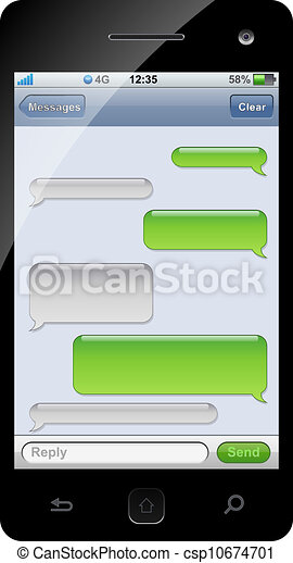 pratstund, mall, space., sms, smartphone, avskrift - csp10674701