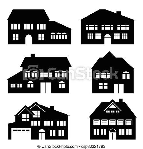 prawdziwy, architektura, dom, stan, ikony - csp30321793