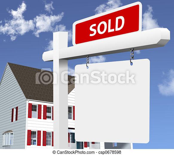 prawdziwy, dom, sprzedany, stan, znak - csp0678598