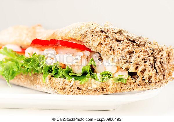 Prawn sandwich on white plate - csp30900493