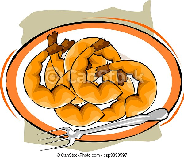 prawns illustration of prawns a plate stock illustrations search rh canstockphoto com Cooked Cabbage Clip Art Chicken Casserole Clip Art
