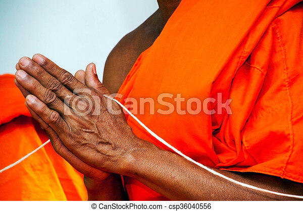 pray, Put the palms of the hands together in salute , monks, thailand - csp36040556