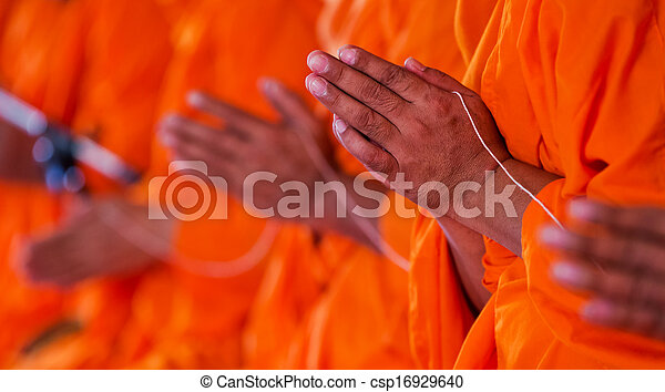 pray, Put the palms of the hands together in salute , monks, thailand - csp16929640
