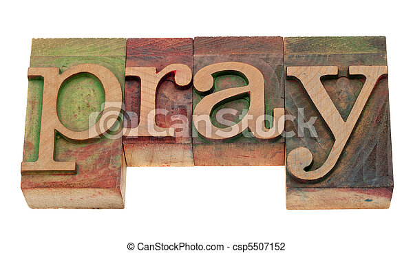 pray word in letterpress type - csp5507152