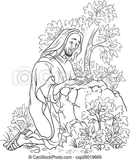 Clip Art Vector Of Prayer Of Jesus Gethsemane Garden
