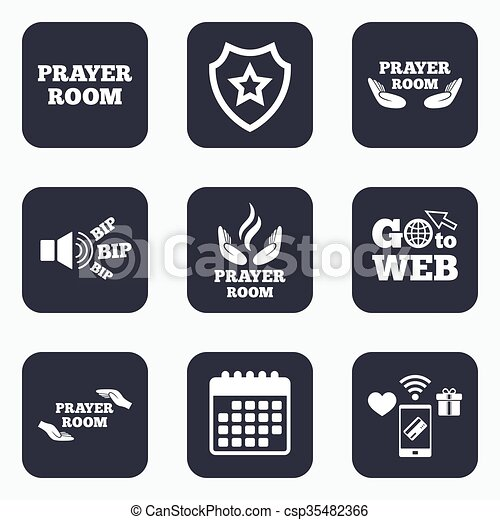 Prayer Room Icons Religion Priest Symbols Mobile Payments Wifi