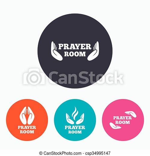 Prayer room icons. Religion priest symbols. - csp34995147