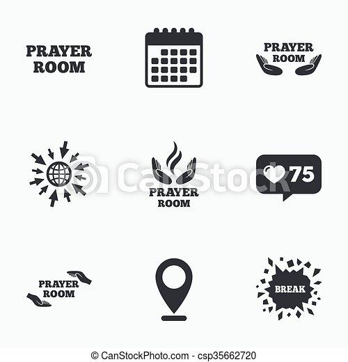 Prayer Room Icons Religion Priest Symbols Calendar Like Counter