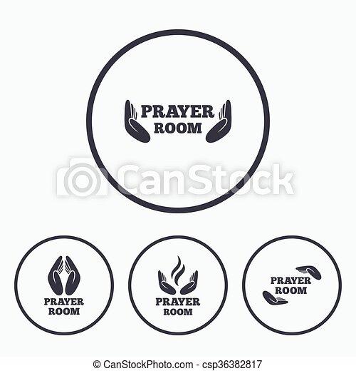 Prayer room icons. Religion priest symbols. - csp36382817