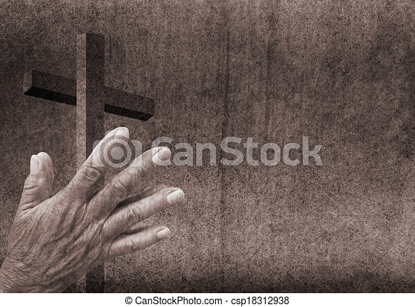 Praying hands with cross - csp18312938