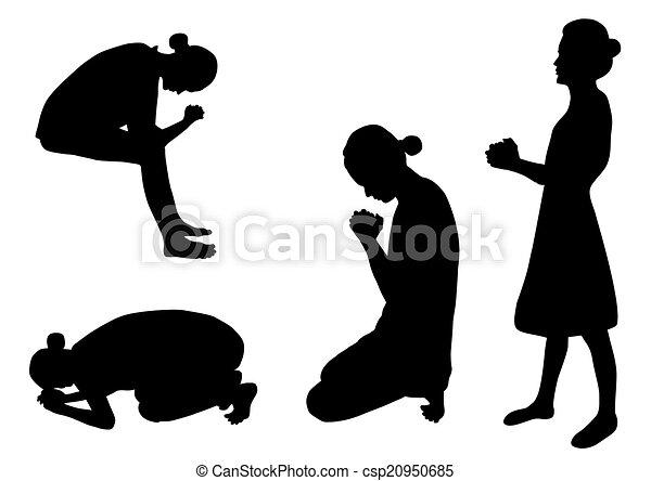 Set Of Women Praying Silhouettes Vector Illustration