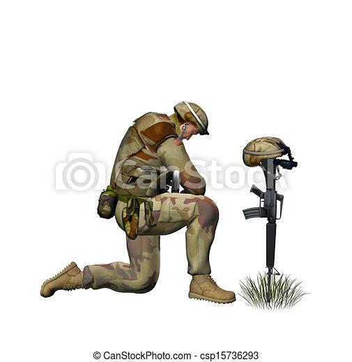 Praying Soldier - csp15736293