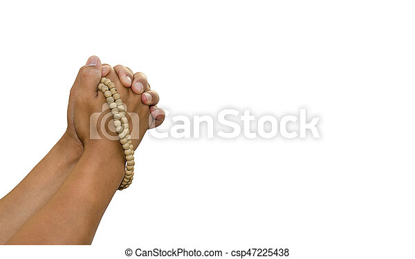 Praying the rosary in the hands of men on a white background. - csp47225438