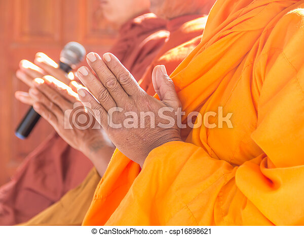 Pray,Put the palms of the hands together in salute , monks, thai - csp16898621