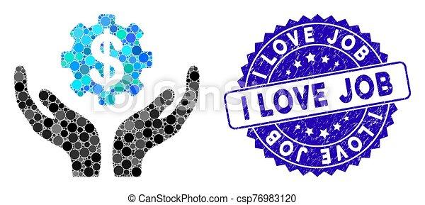 preço, manutenção, ícone, trabalho, mosaico, amor, angústia, selo - csp76983120