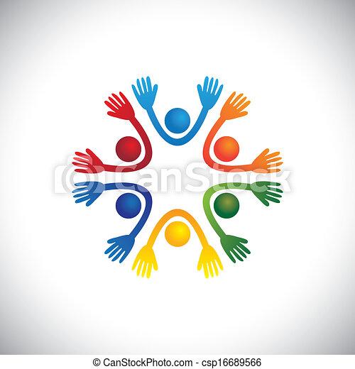 Feliz, alegres niños y niños coloridos jugando juntos vector. El gráfico también puede representar niños de preescolar en una escuela de teatro o casa de juegos, estudiantes o amigos divirtiéndose en la fiesta - csp16689566