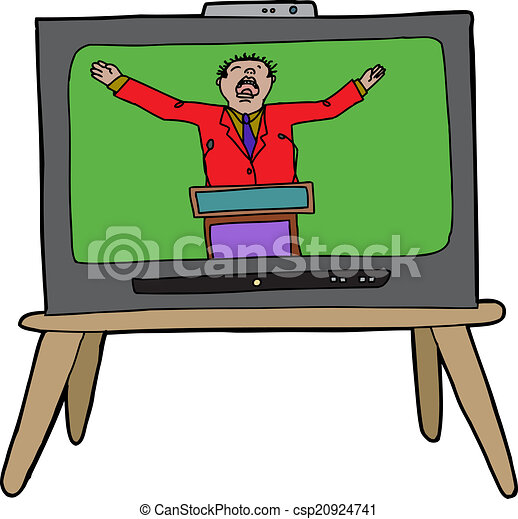 preacher on tv loud preacher man in red on television eps vector rh canstockphoto com preacher clipart free preaching clip art free