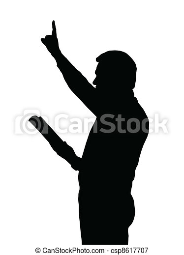 Preacher Teaching from Bible with Raised Arm - csp8617707