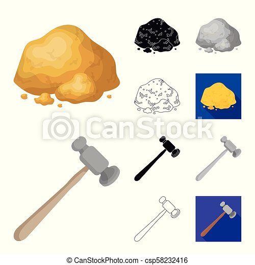 Precious Minerals cartoon, black, flat, monochrome, outline icons in set collection for design. Jeweler and Equipment vector symbol stock web illustration. - csp58232416