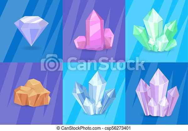 Precious Stones and Minerals Vector Illustration - csp56273401