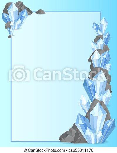 Precious Stones and Rock Frame Vector Illustration - csp55011176