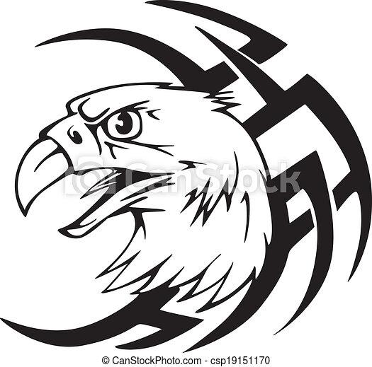 Predator eagle head tattoo - csp19151170