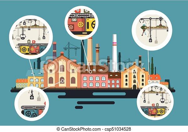 predios, apartamento, industrial, antigas, fábrica, vetorial, producao, desenho, stacks., linha, bolhas, chaminé - csp51034528