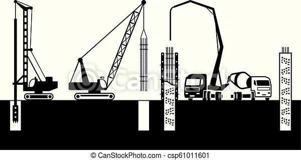 predios, fundações, fazer, maquinaria construção - csp61011601