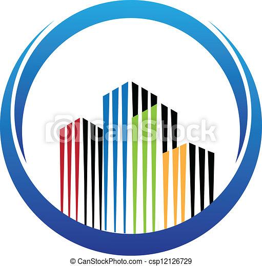 predios, real, vetorial, propriedade, logotipo - csp12126729