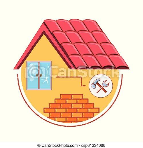 predios, reparar, casa, lar, ícones - csp61334088