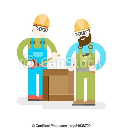 predios, reparar, tools., construtor, illustration., serviço, trabalhadores, dois, experiência., bom, vetorial, uniform., especialistas, construção, branca, man. - csp34638709