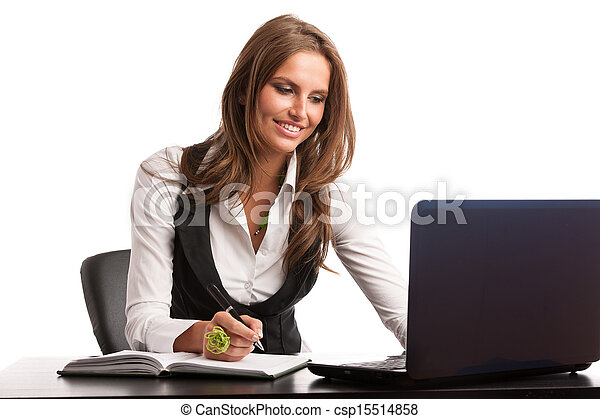 Preety business secretarry woman working in office isolated over white background - csp15514858