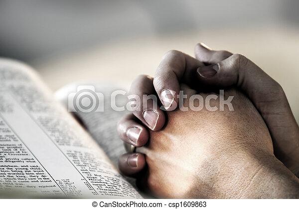 pregare, bibbia, mani - csp1609863