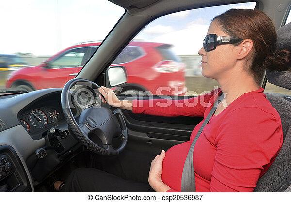 Pregnancy - pregnant woman drive a car  - csp20536987
