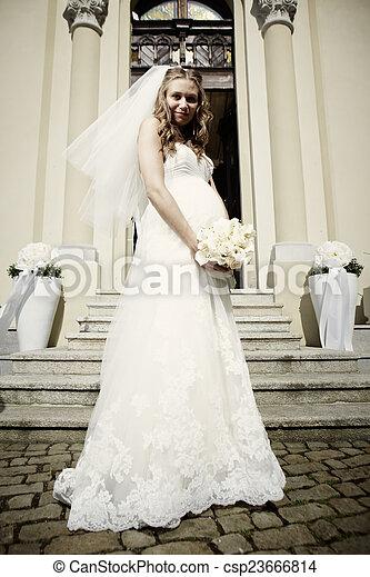 Young pregnant bride