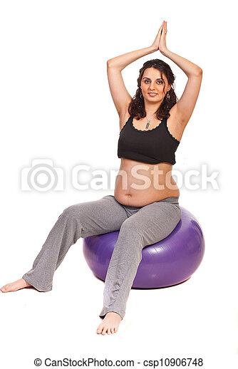 Pregnant doing fitness - csp10906748