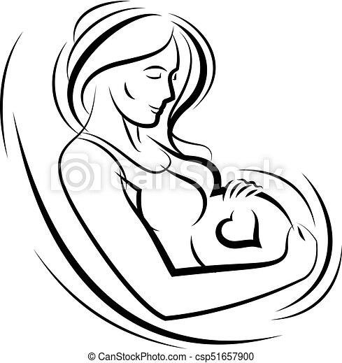 Pregnant Female Surrounded By Heart Shape Frame Hand Drawn Vector