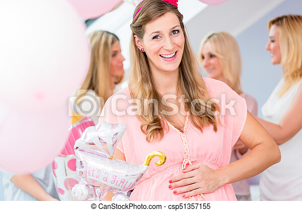 Pregnant Girl Celebrating Baby Shower Party With Friends Showing Her Baby Belly
