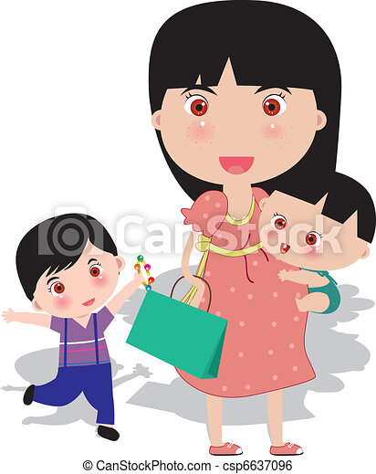 Pregnant Go Shopping With Baby Vector