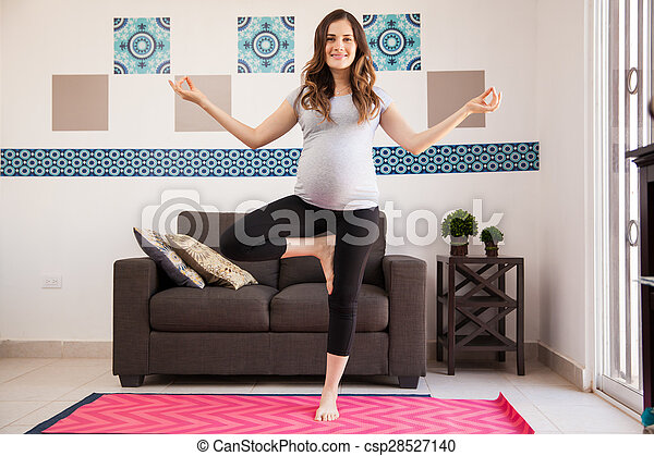 pregnant mom loves doing yoga beautiful young pregnant