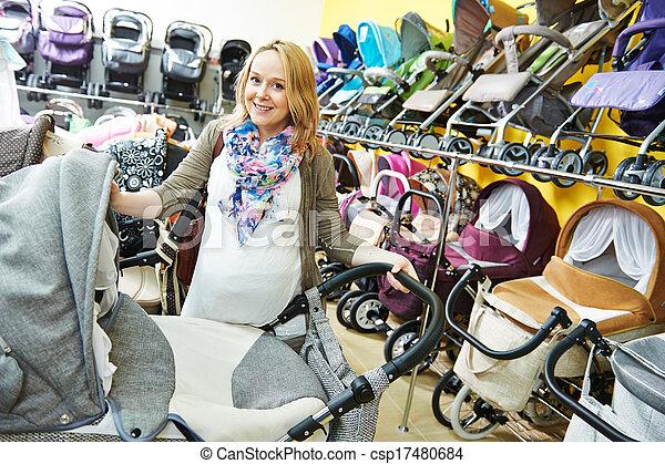 pregnant woman chosing pram - csp17480684